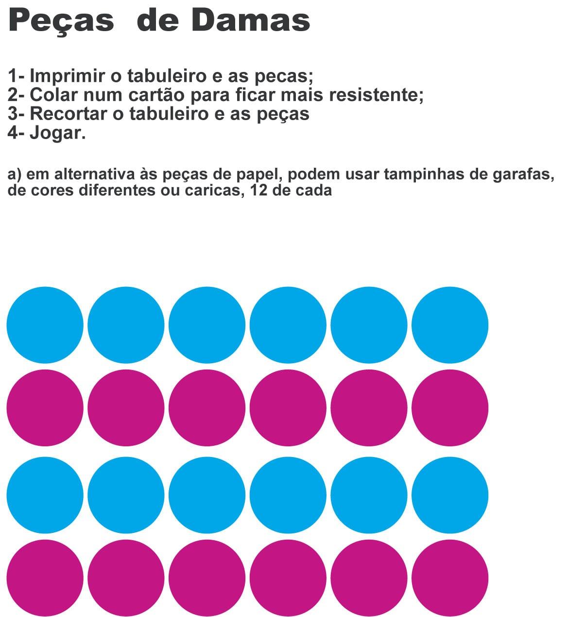 Jogo De Dama Para Imprimir E Colorir