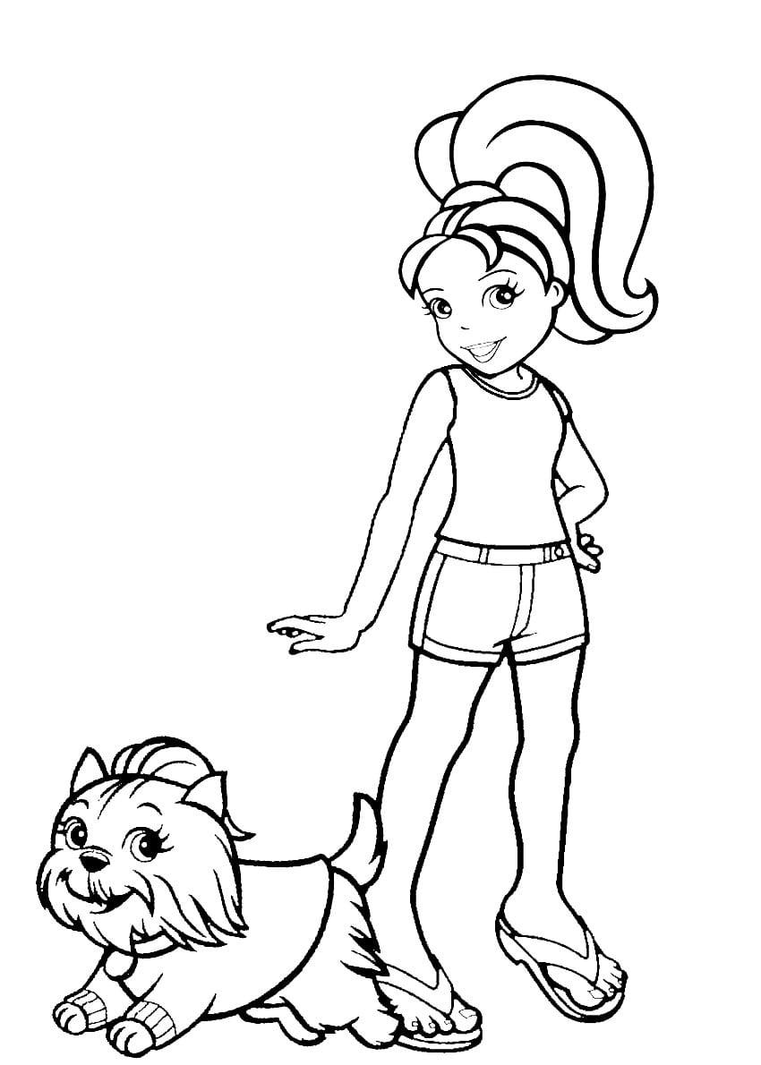 Desenho De Polly Pocket E Animal De Estimação Para Colorir