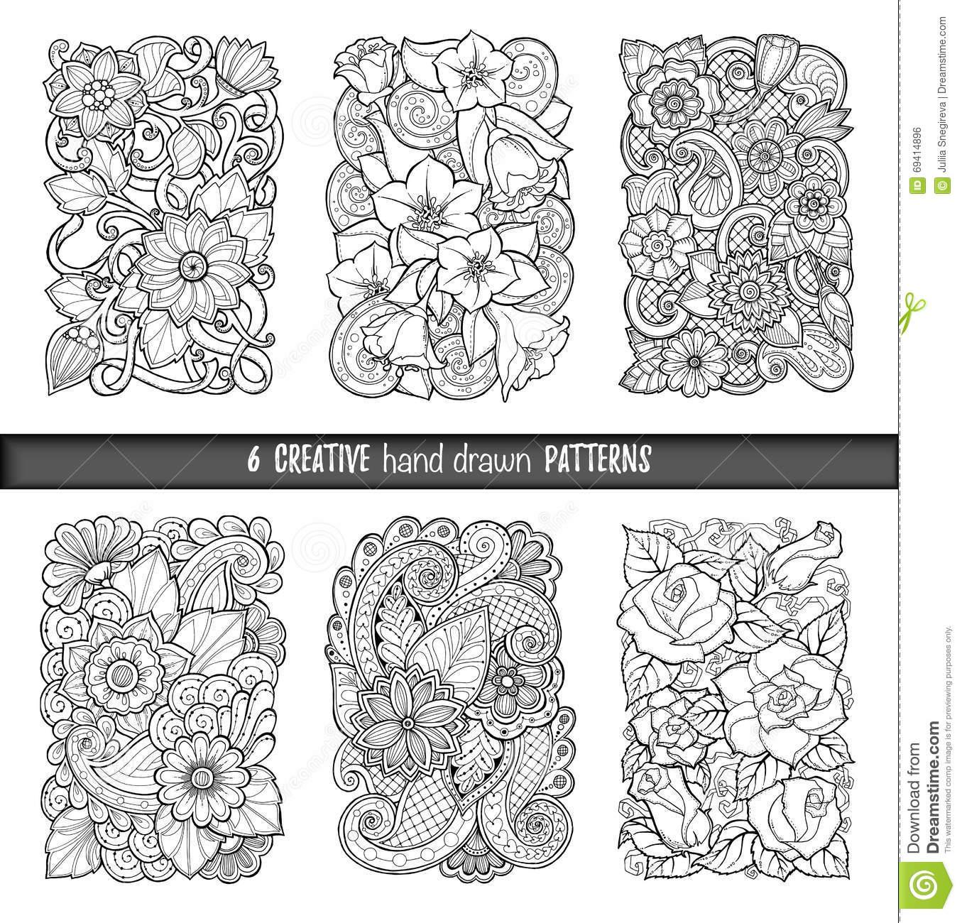 Sistema De Fondos En Vector Con Garabatos, Las Flores Y Paisley