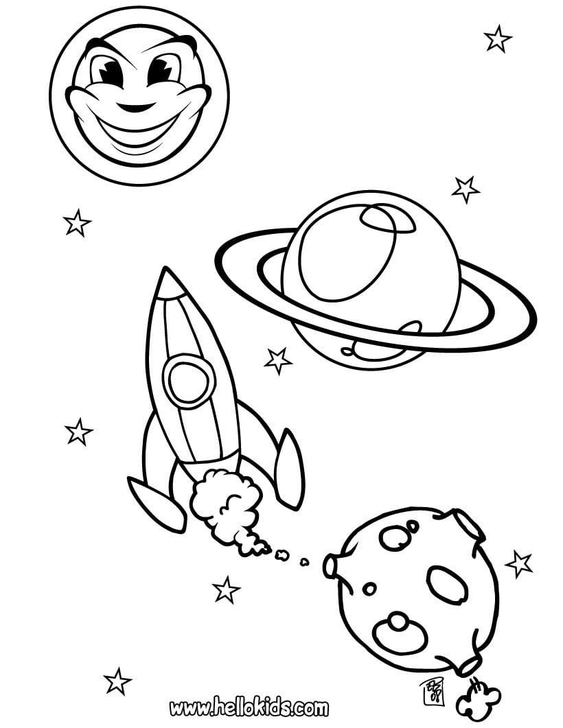Desenhos Para Colorir De Desenho De Uma Nave Espacial Para Colorir