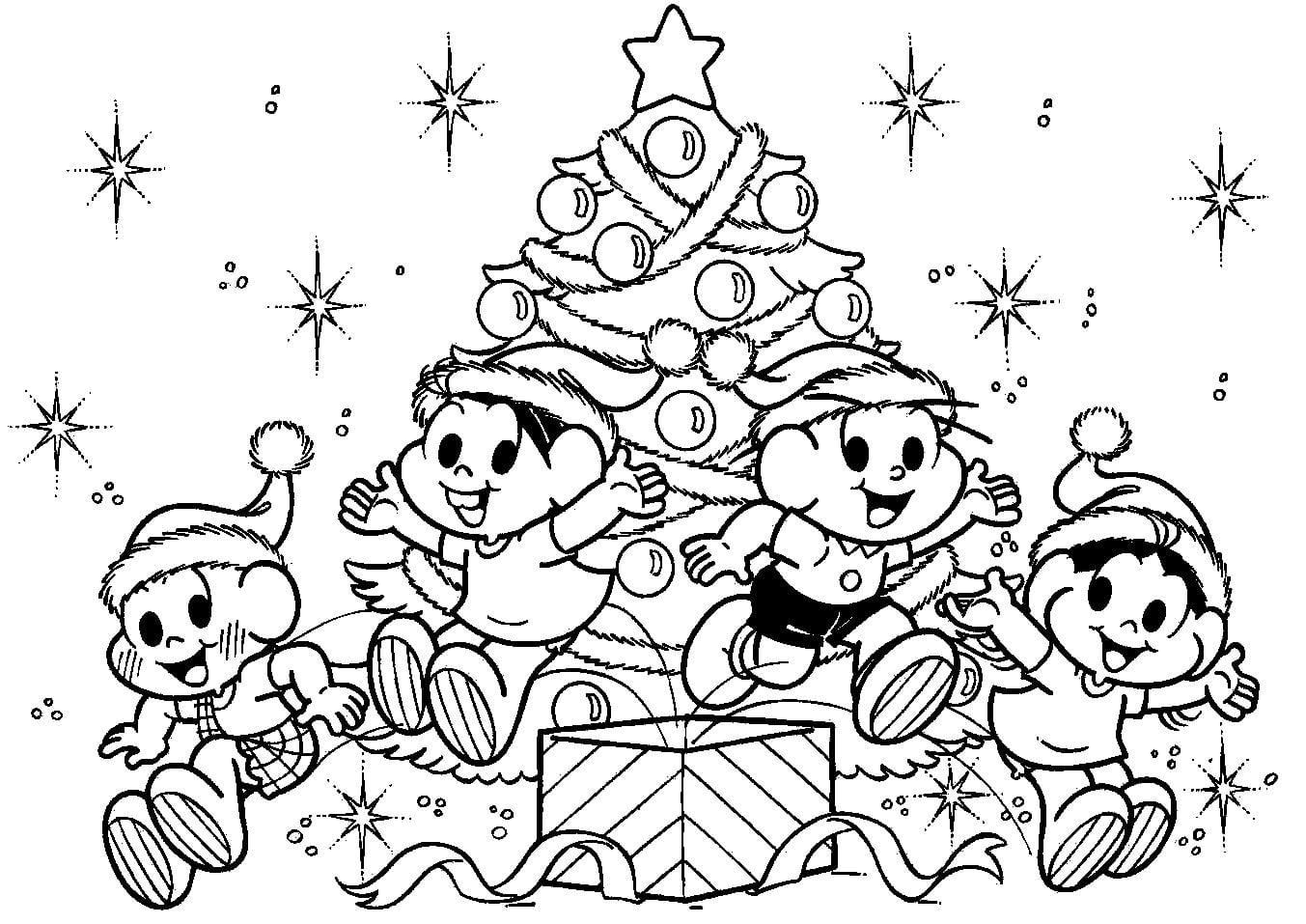 Desenho De Turma Da Monica Em Linda Noite De Natal Para Colorir