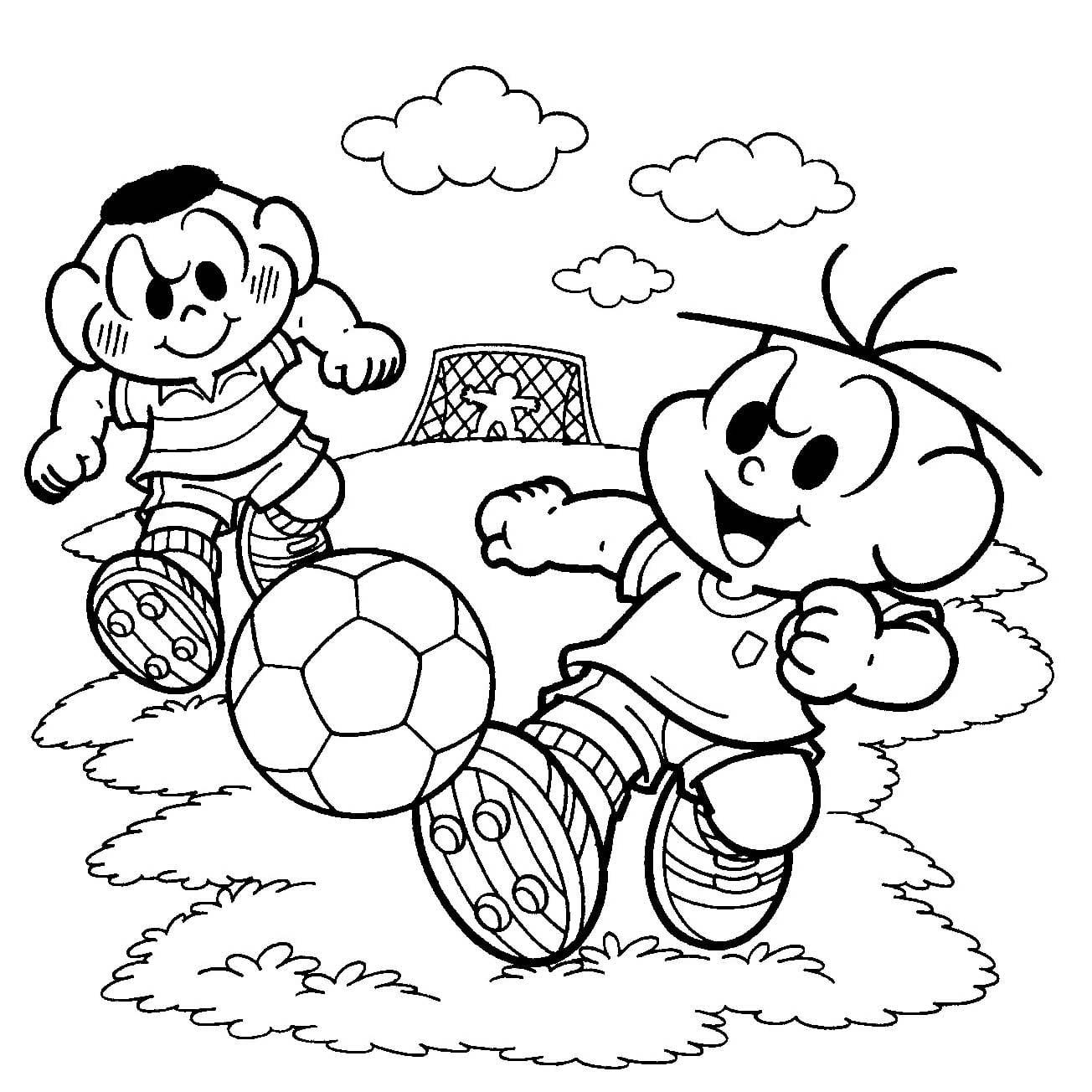 Desenho De Turma Da Monica No Campo De Futebol Para Colorir