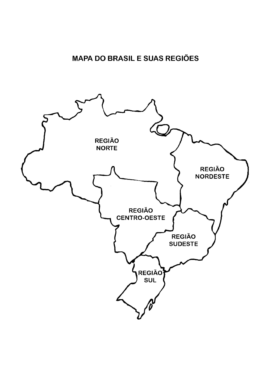 Mapa Do Brasil Dividido Em Regiões Para Colorir