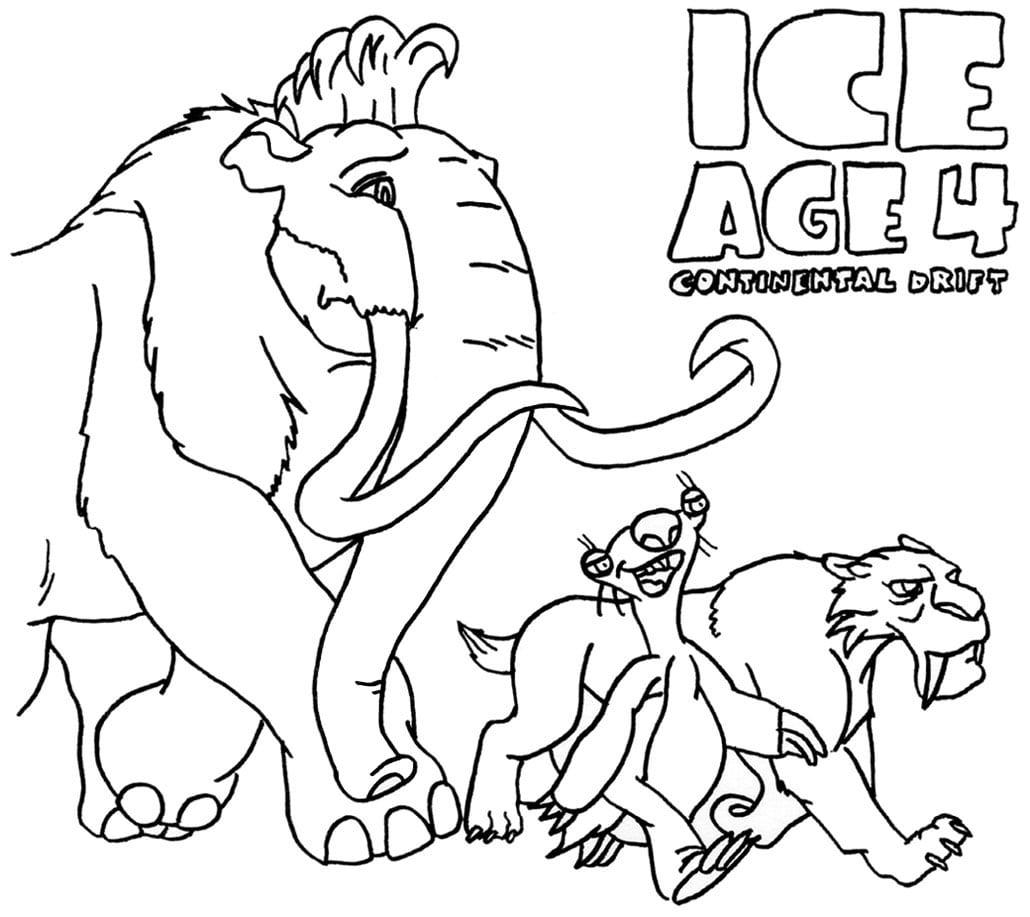 Ice Age 4 Para Colorir