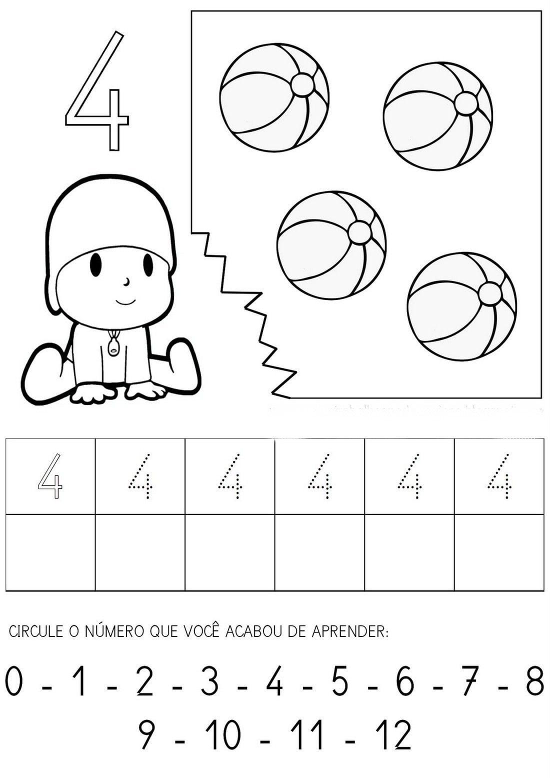 Números De 0 A 9 Para Copiar Com Objetos Para Colorir Número 0
