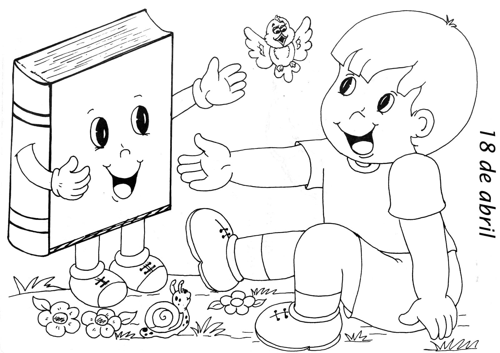 Desenho De Biblioteca Para Colorir: Dia Do Livro Para Colorir
