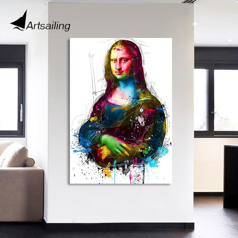 1 Peça Pintura Da Lona Hd Impresso Colorido Sorriso De Mona Lisa