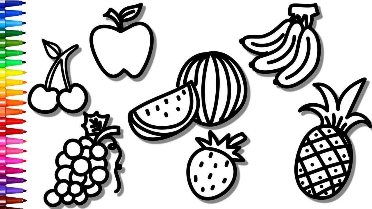 Desenhos Para Colorir Colorindo Frutas, Uva, Banana E Morango