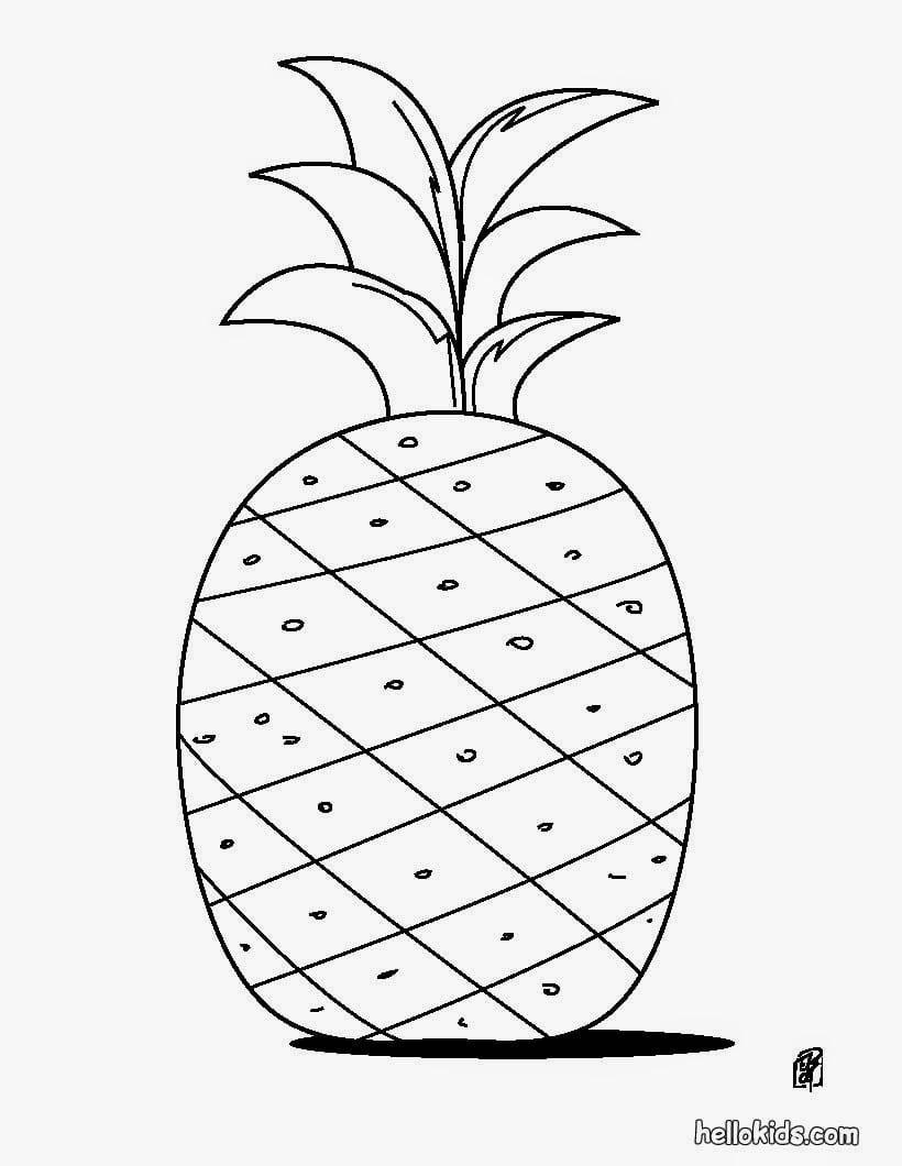 Desenhos Para Pintar  Desenho De Abacaxi Para Colorir