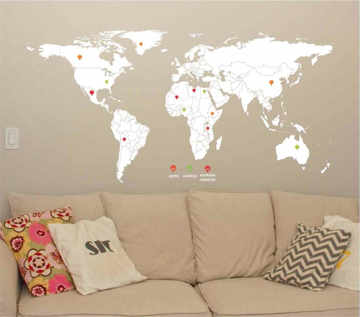 Adesivos Parede Mapa Mundi Pequeno Sala Decor Varias Cores