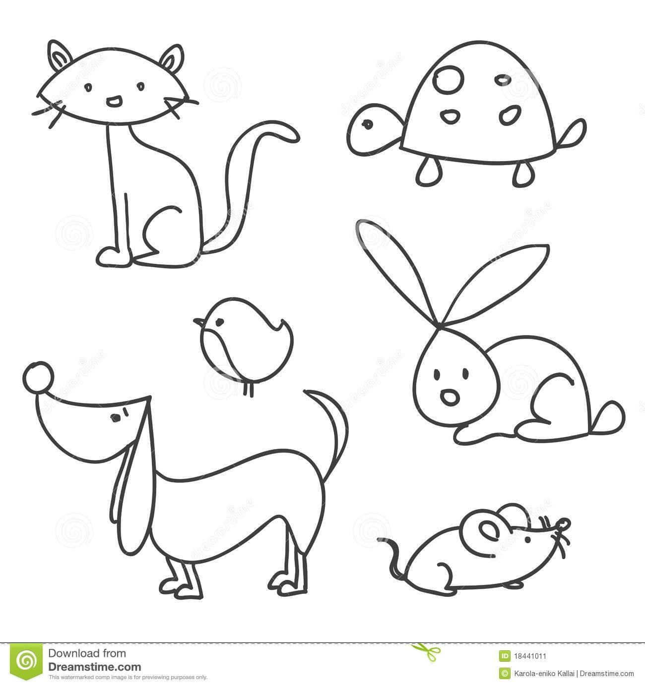 Animais De Estimação Desenhados Mão Dos Desenhos Animados