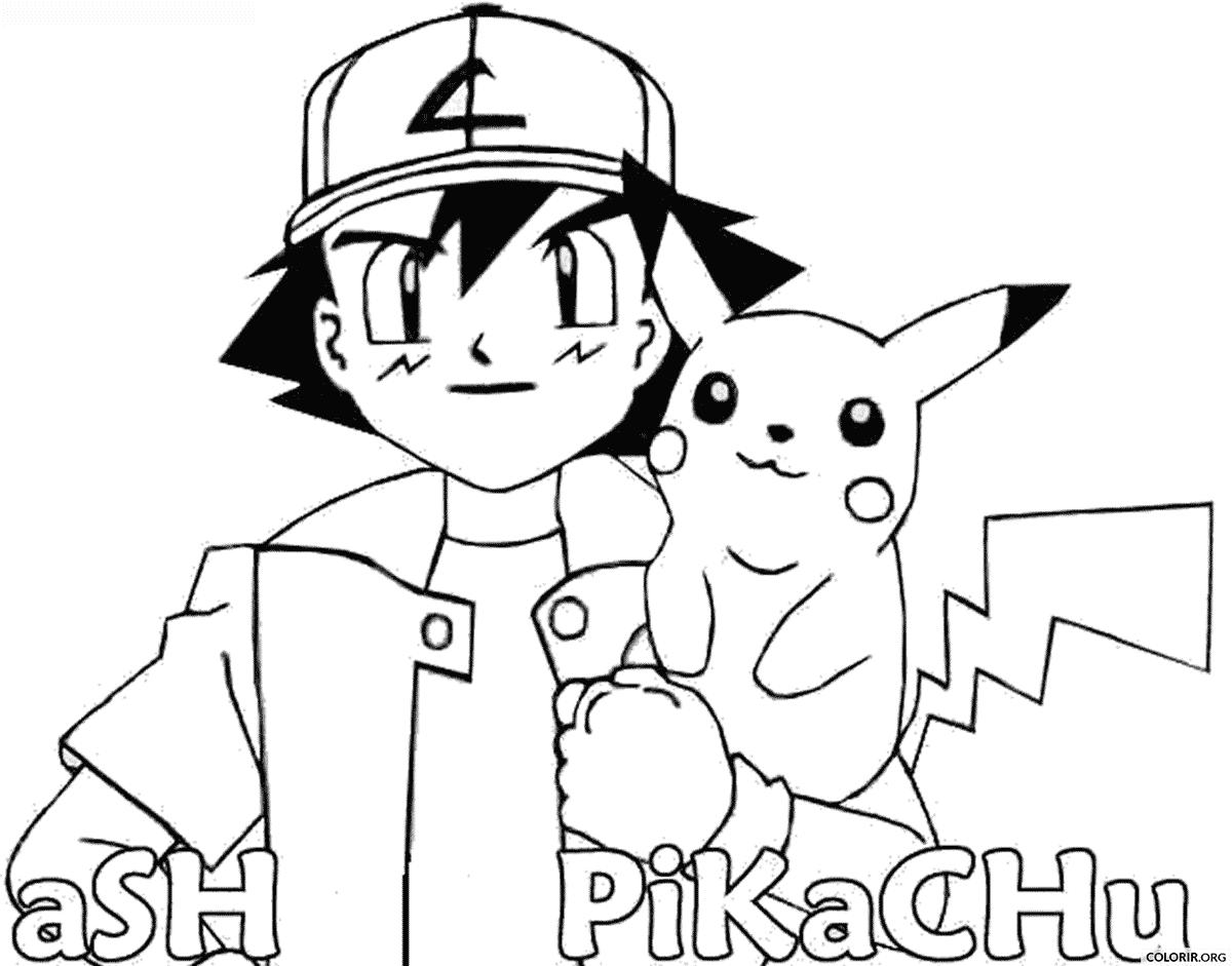 Pokémon  Ash E Pikachu Para Colorir — Colorir Org