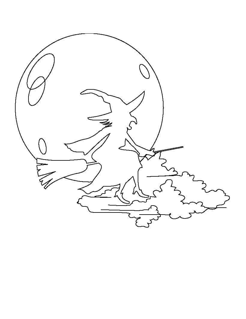 Desenho De Bruxa E Lua Cheia Para Colorir
