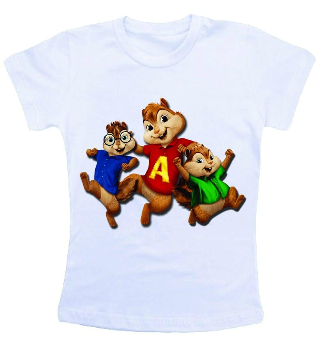 Camiseta Infantil   Criança Desenho Alvin E Os Esquilos