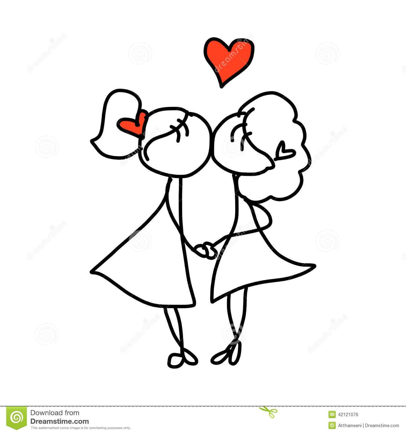 Casamento Feliz Dos Pares Dos Desenhos Animados Do Desenho Da Mão