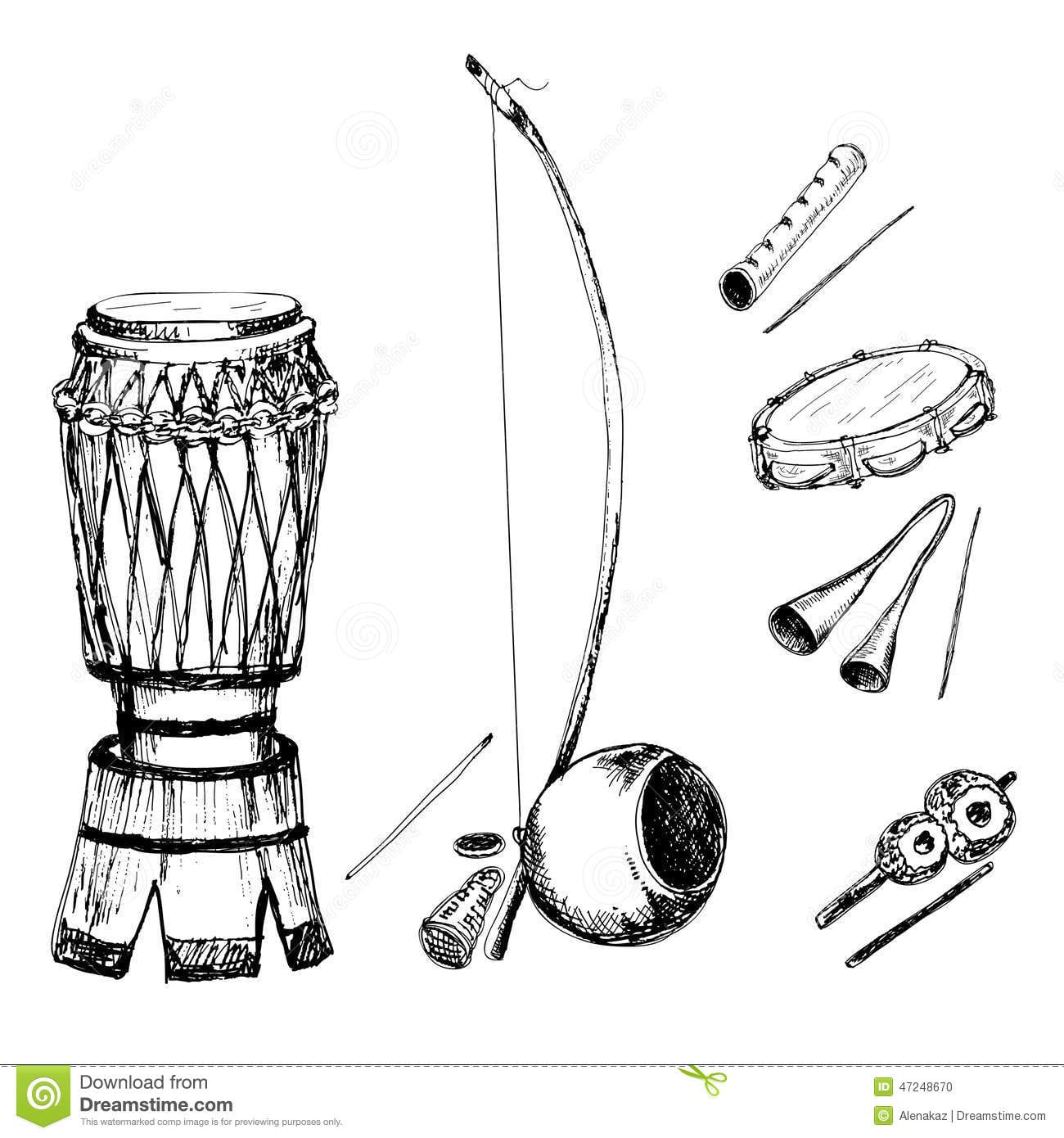 Collection Of Musical Instruments Stock Vector