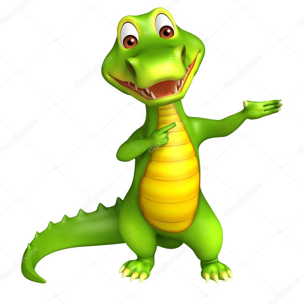 Personagem De Desenho Animado Jacaré Bonita — Stock Photo