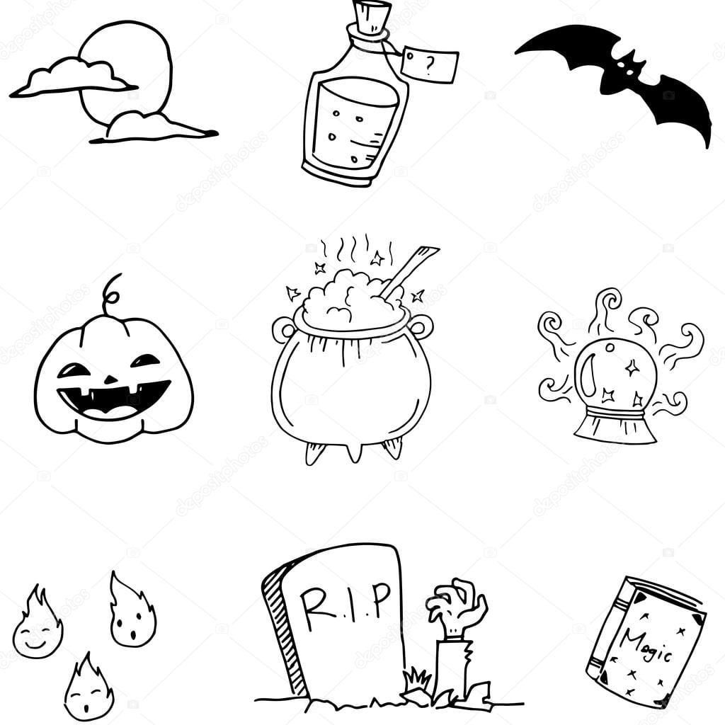 Doodle De Conjunto Mão De Halloween Desenhar — Vetor De Stock