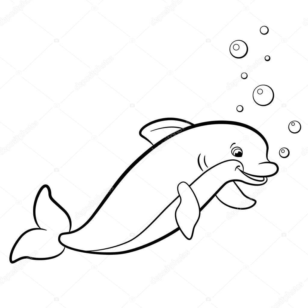 Páginas Para Colorir  Animais Selvagens Marinhos  Lindo Golfinho