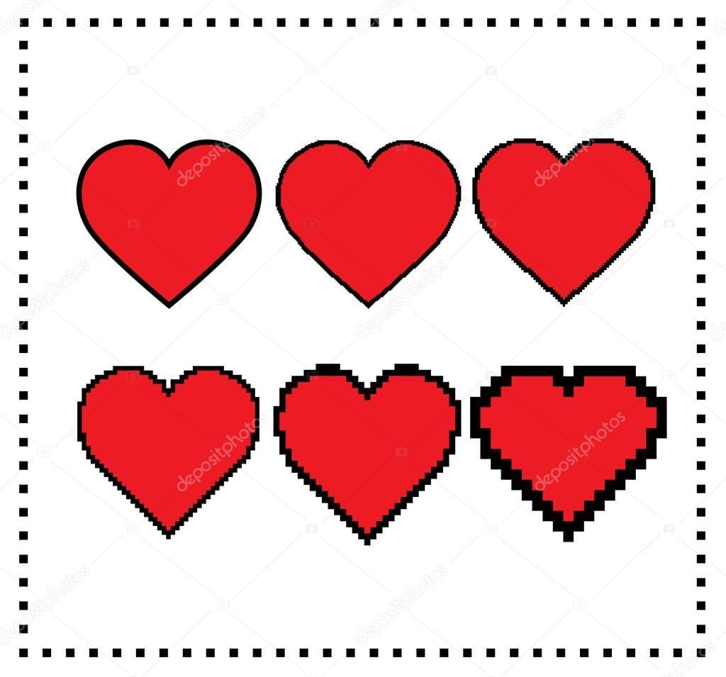 Corações De Pixel Art  Tamanho De Pixel Diferentes  Pixel Grande