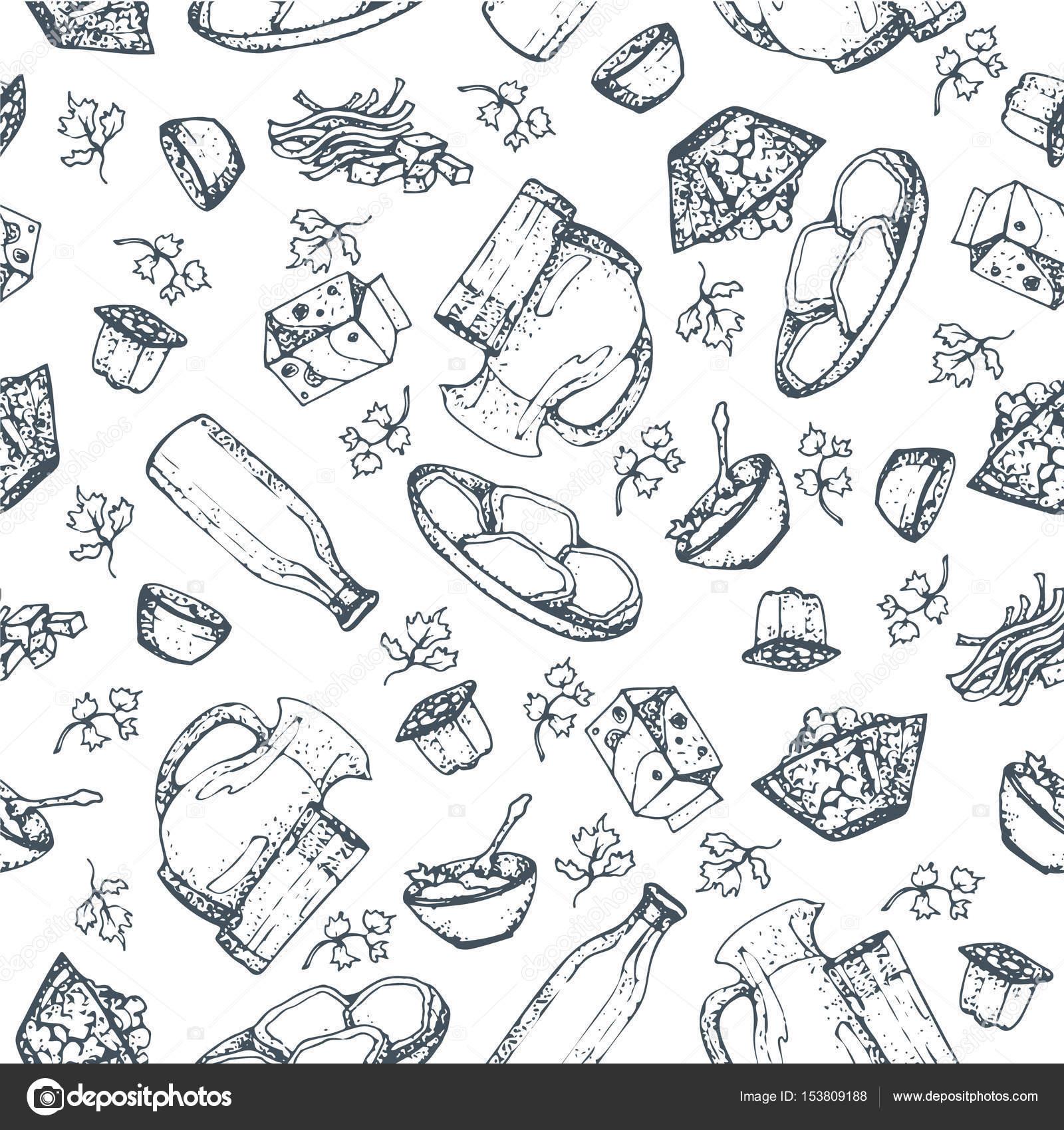 Produtos Lácteos Sem Costura Padrão, Mão Desenhada, Desenhos De