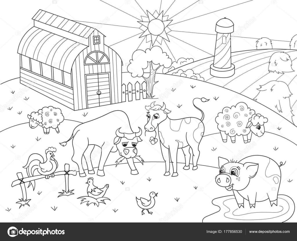 Animais Da Fazenda E Paisagem Rural, Vetor De Colorir Para Adultos