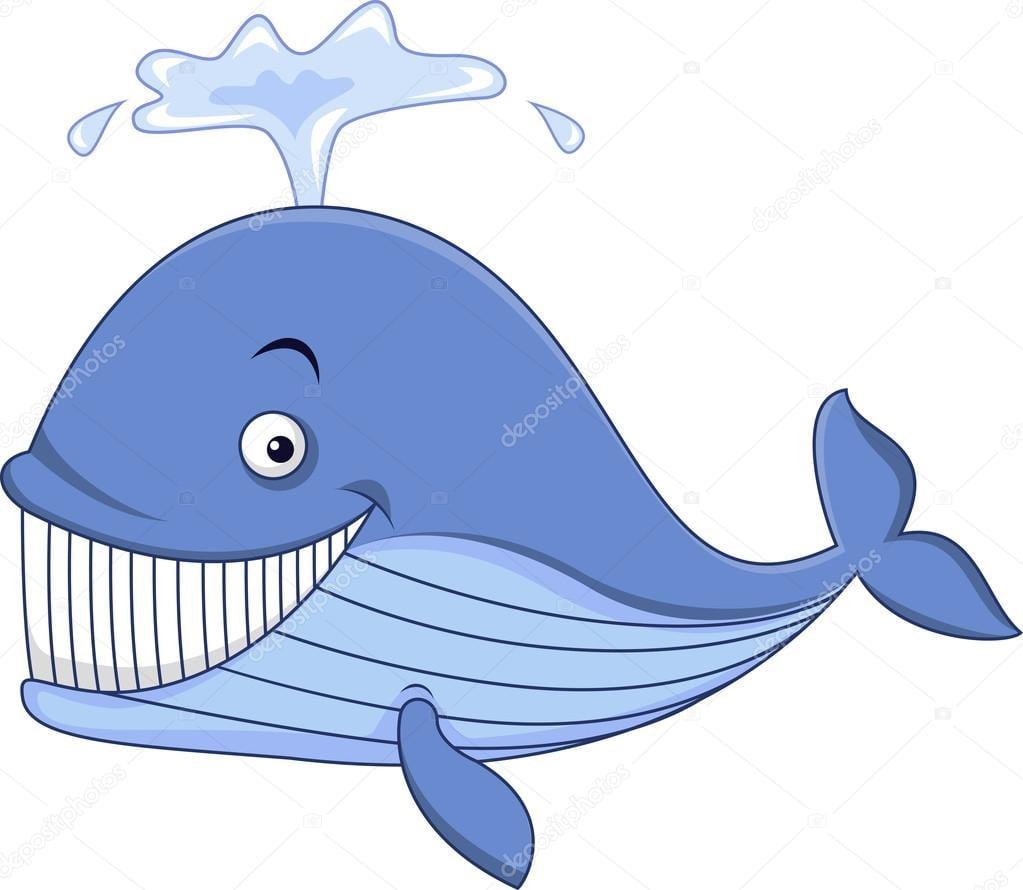 Desenho Animado Feliz Baleia Azul — Vetor De Stock © Tigatelu
