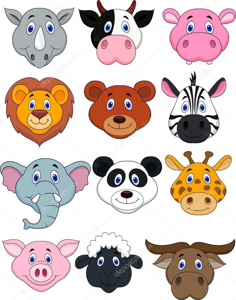 ícone De Cabeça Animais Dos Desenhos Animados — Vetores De Stock