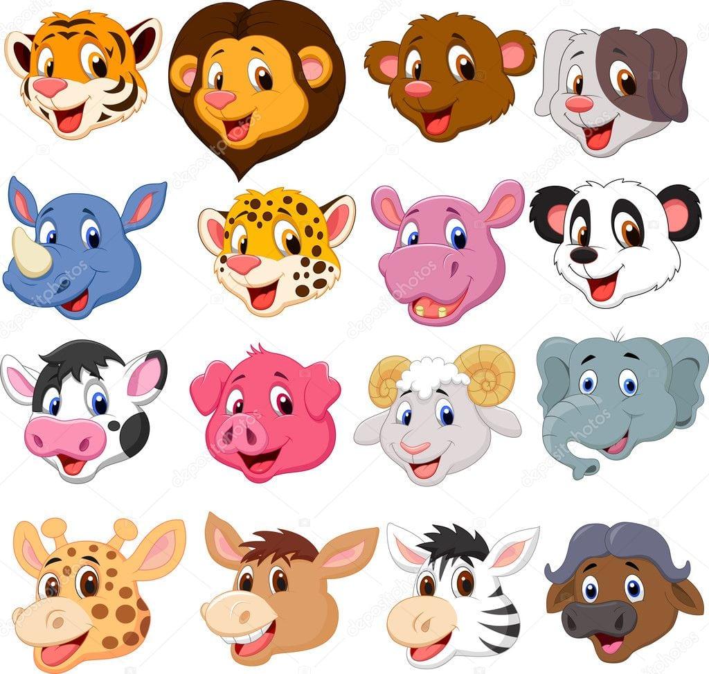 Conjunto De Animais Coleção Cabeça Dos Desenhos Animados — Vetores