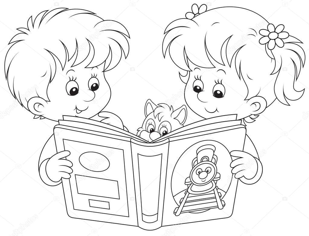 Desenhos De Crian?as Estudando Para Colorir