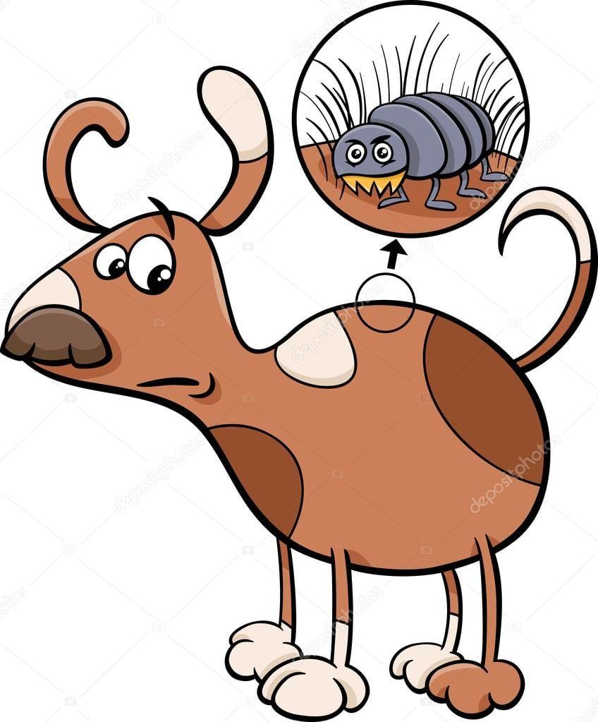 Ilustração Dos Desenhos Animados De Cachorro E Pulga — Vetores De