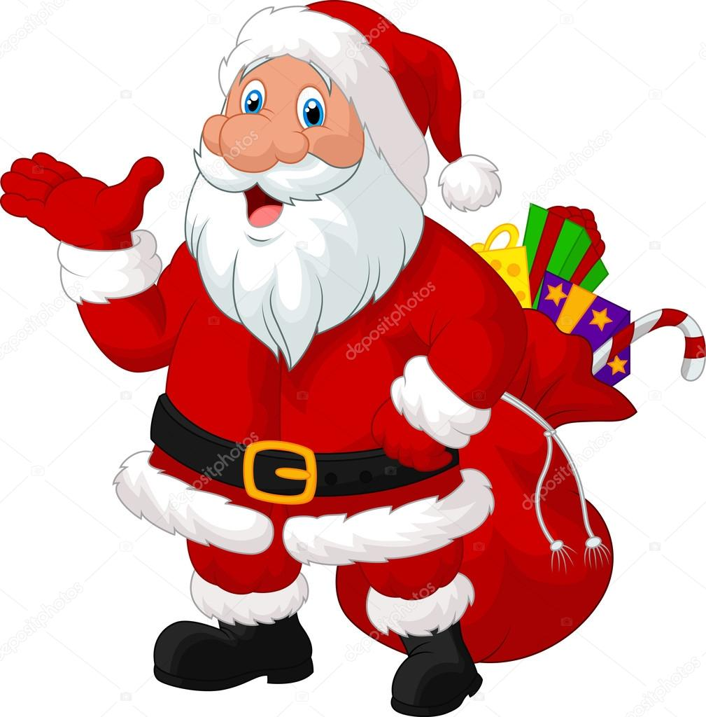 Desenho De Papai Noel Feliz Com Saco — Vetores De Stock © Tigatelu