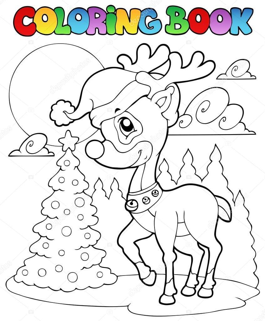 Veado De Natal Colorir Livro 1 — Vetores De Stock © Clairev  7213756