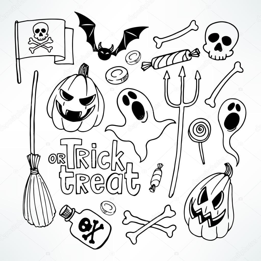 Desenho De Halloween Conjunto — Vetores De Stock © Grey_ant  85086028