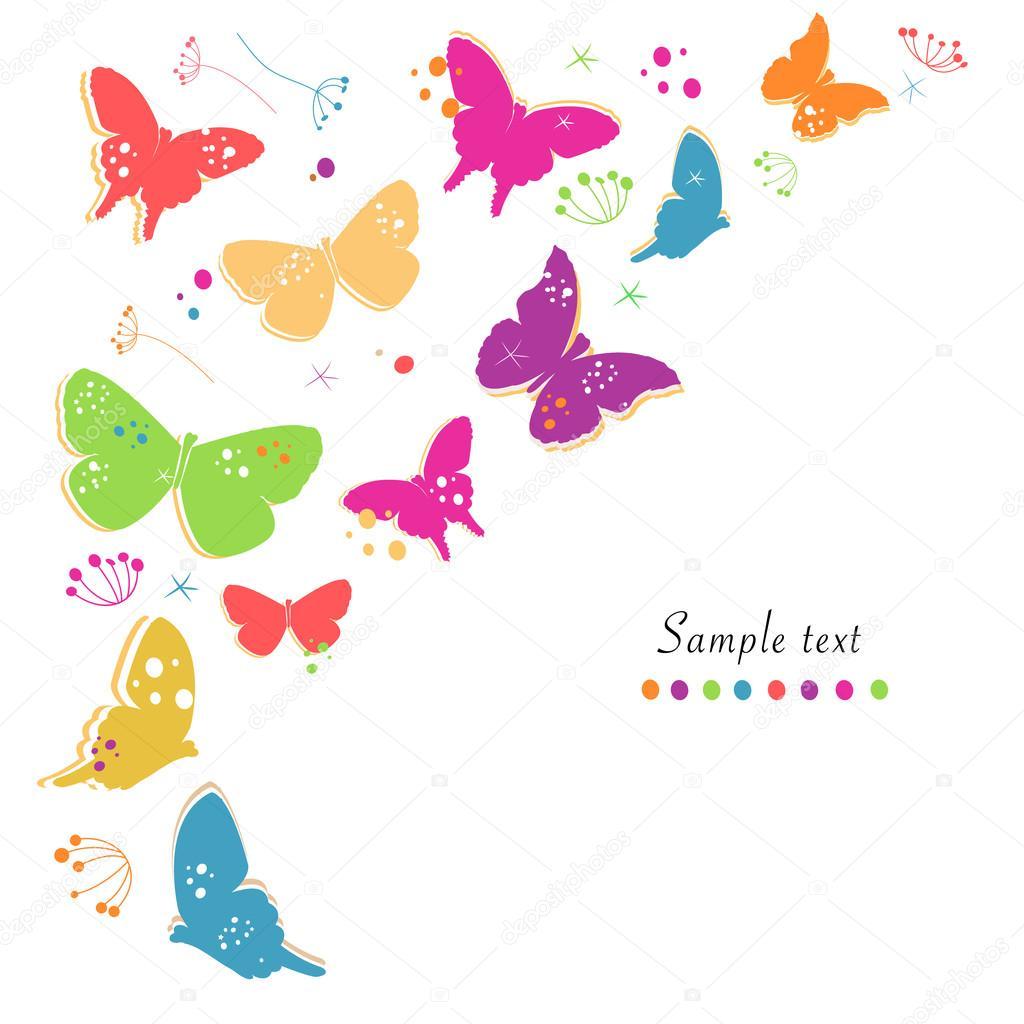 Primavera Colorida Borboleta Desenho E Abstrato Flores Decorativas