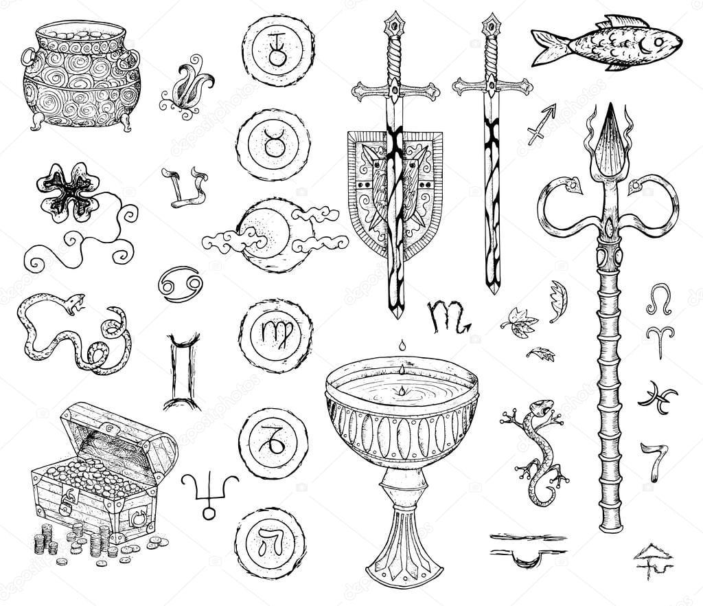 Conjunto Gráfico Com Desenhos De Espadas — Vetores De Stock
