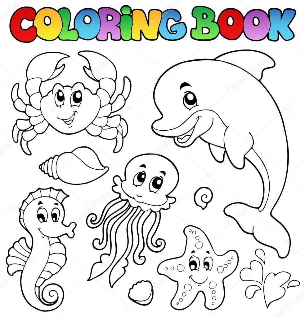 Livro Para Colorir De Diversos Animais Marinhos 2 — Vetor De Stock