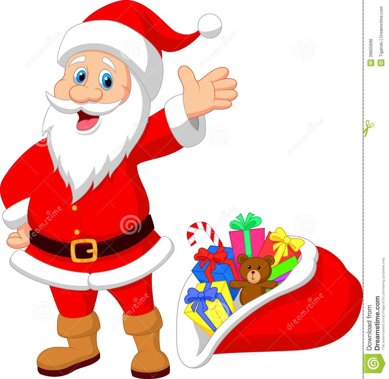 Desenhos Animados Felizes De Papai Noel Com Presente Ilustração Do