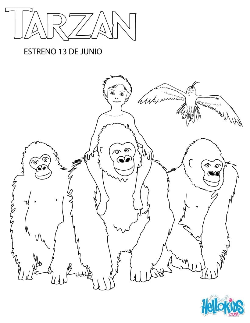 Desenhos Para Colorir De Menino Tarzan Com A FamÃlia Deles