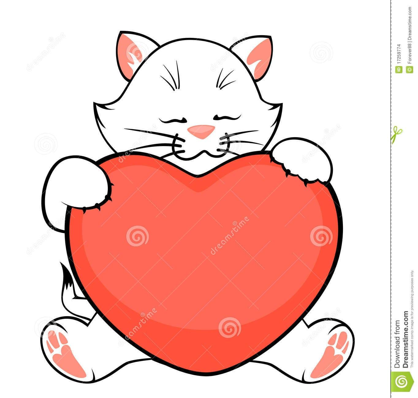 Gatinho Pequeno Dos Desenhos Animados Com Coração Ilustração Do