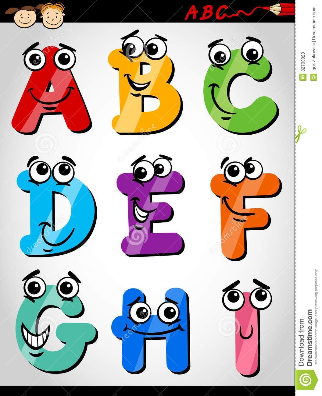 Ilustração Engraçada Dos Desenhos Animados Do Alfabeto Das Letras