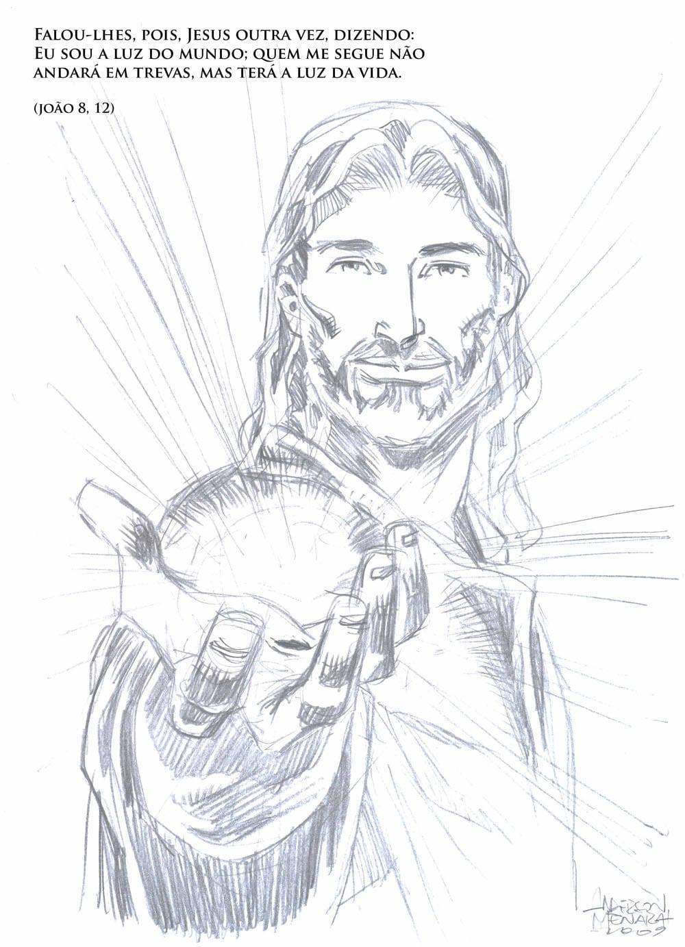 Desenho De Jesus Cristo Em Preto E Branco