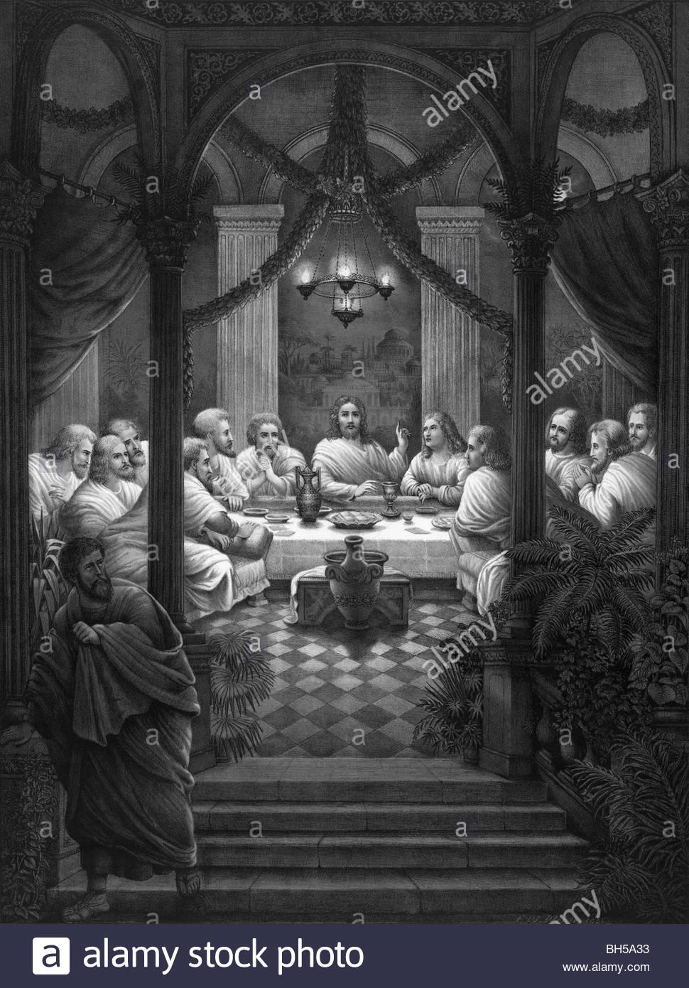 Imprimir Circa 1886 Mostrando A Última Ceia De Jesus Cristo E Seus