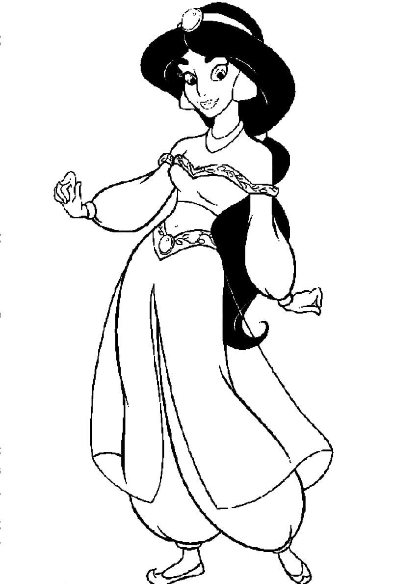 Desenho De Princesa Jasmine Para Colorir