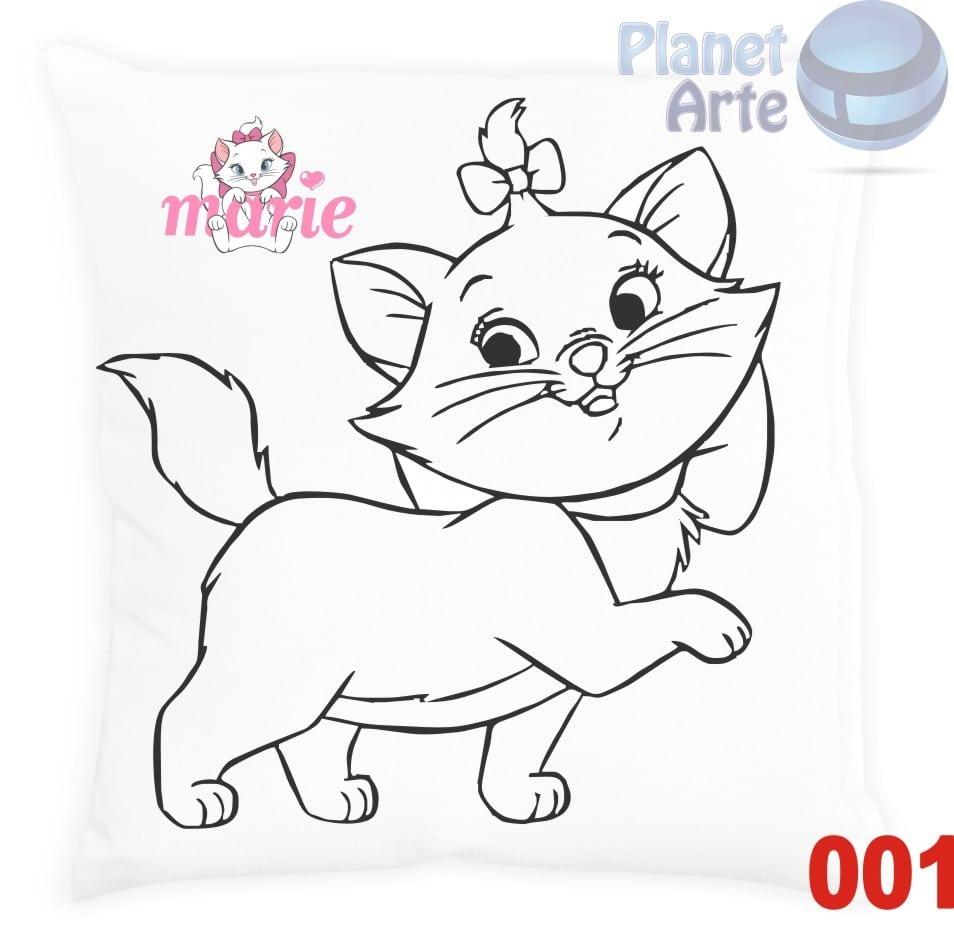 Com 10 Almofadas Para Colorir E Pintar Personalizada Gatinha Marie