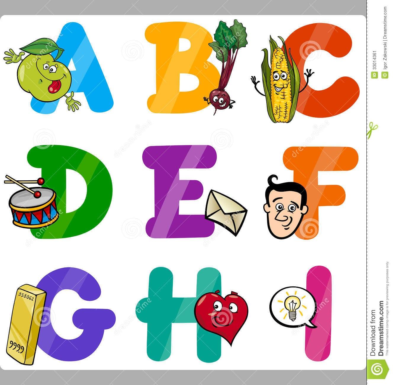 Letras Do Alfabeto Dos Desenhos Animados Da Educação Para Crianças