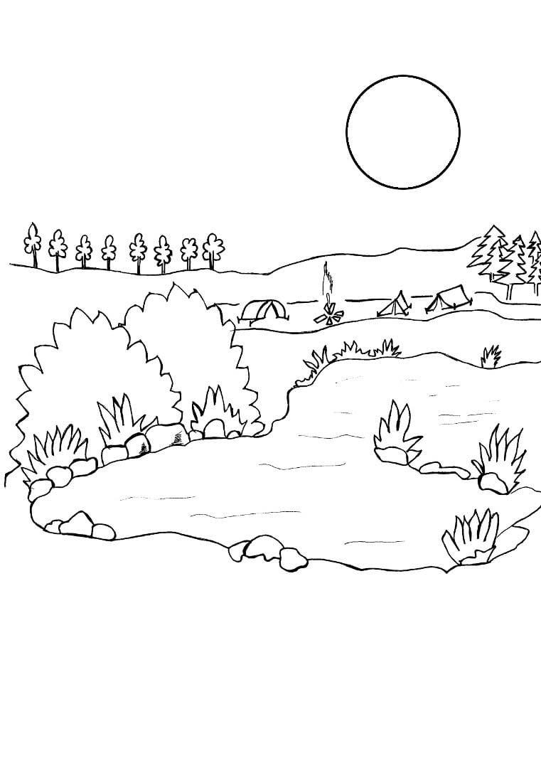 Desenho De Lua Iluminando Lago Bonito Para Colorir