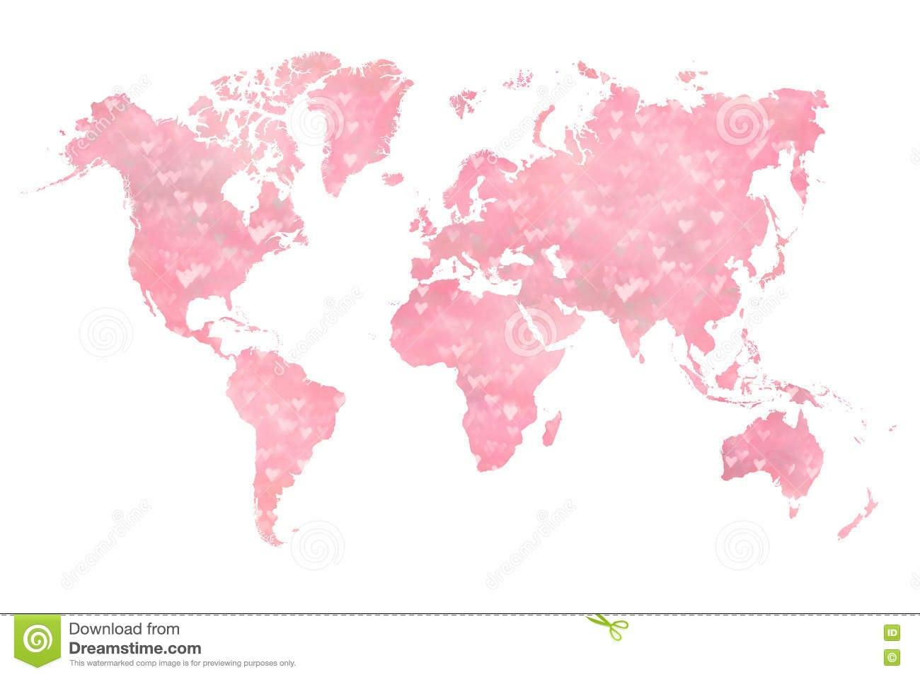 Mapa Do Mundo Enchido Com Os Corações Cor
