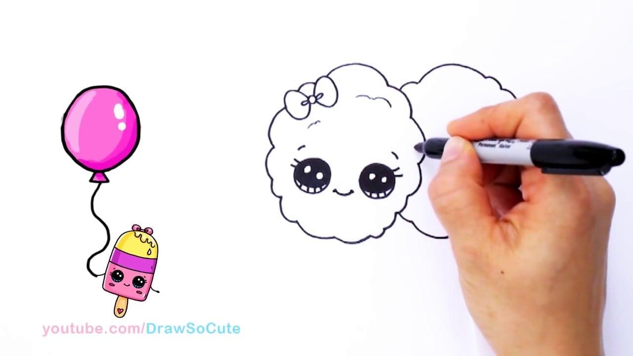 Como Desenhar Desenhos Animados Doces De Algodão Bonito E Fácil