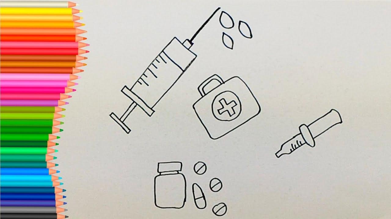 Como Desenhar E Colorir Kit Medico Para CrianÇas